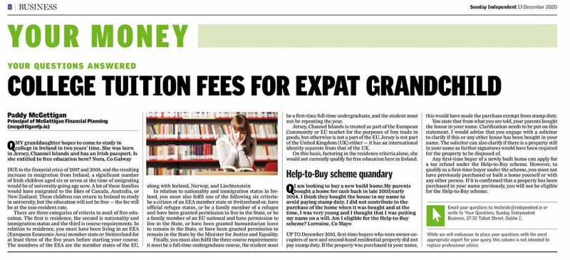 College Tuition Fees for Expat Grandchild